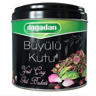 Турецкий зеленый чай Dogadan волшебный ларец с бутонами роз, 85 гр