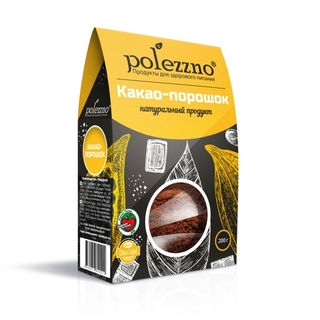 Какао порошок Polezzno натуральный, 200 гр