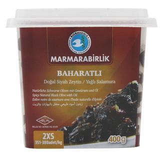 Маслины Marmarabirlik Baharatli в масле со специями 2XS, 400 гр