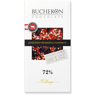 Горький шоколад Bucheron с клюквой, клубникой и фисташками, 100 гр
