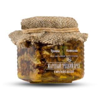 Жареный грецкий орех и мёд белой акации Травы Кавказа, 310 гр