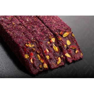 Гранатовый лукум-фитиль Hacibaba с фисташкой в крошке из лепестков роз, 100 гр